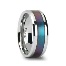Thorsten STINGRAY Tungsten Carbide Wedding Ring Blue Purple Color Changing Inlay