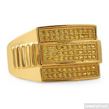 Gold Finish Canary Yellow Presidential CZ Cubic Zirconia Mens Ring