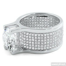 White Gold Finish Custom 360 Mens Ring With 8.5 Carat Lab Made CZ Solitaire