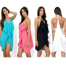 Candy Color Chiffon Crusader Draped Strappy Racer Back Wing Flaps 11124 Dress