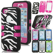 Zebra Heavy Duty High Impact Rubber + Hard Combo Kickstand Case For iPhone 5 5S