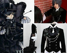 Black Butler Ciel Phantomhive Black Suit Outfit Custom Cosplay Costume any size