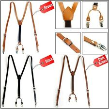 New Mens Leather Elastic Suspenders Y-Back Suit Office Adjustable Holdup Braces