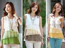 Fashon South Korean women chiffon sleeveless top shirt vest plus size L-4XL