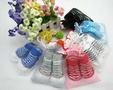 Hot Sale! Toddler Girls Boys Baby CRIB Shoes Booties Socks for 0-6 Month LSUS