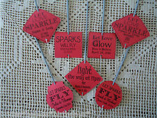 Kraft Red Wedding Favour Gift Tags Sparklers Bomboniere PERSONALISED Vintage