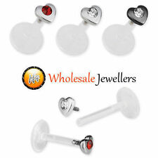 1pc New Heart Gem Bioflex Labret Monroe Tragus Ear Lip Bar Stud Body Piercing