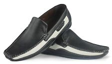 Mens Faux Leather Black & White Slip On Summer Casual Moccasin Shoes size 6 - 12