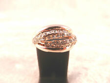 18k Rose Gold Plated & Clear CZ Crystals Fashion Rings Size N / 7 in 4 Designs