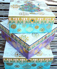 pUNCH sTUDIO Choice of Peacock Feather Christmas Tree Gold Foil Nesting Boxes