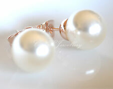 18k Rose White Gold GP Silver Simple Pearl Earring Studs Large Small All Size
