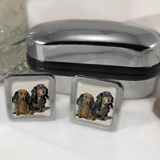 Dachshund Dog Cufflinks & Box