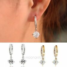 Vintage Gorgeous 18k white gold filled white Swarovski crystal hoop earring