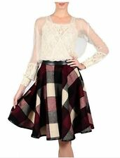 RYU WOOL POLY BURGUNDY CHECK WOVEN SKIRT NEW S-M-L *PRICE REDUCTION*