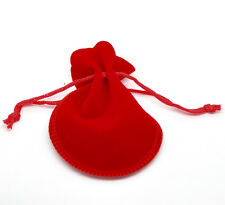 Wholesale Lots Red Velvet Drawstring Pouches Jewelry Gift Bag 9x7.5cm