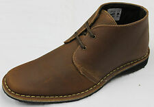 Men's Brown Waxy Genuine Leather Desert Boots. UK Sizes 6 - 12