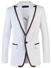CUSTOM MADE MEN SUITS,BESPOKE white jacket with brown trim for lapels pocket