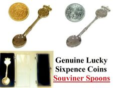 Collectable Souvenir Wedding Spoon Real Lucky Sixpence Coins 1947-1967 years