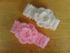 Handmade Crocheted Baby Girl Double Flower Headband   various sizes & colours