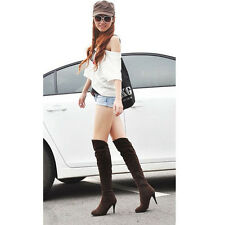 NEW Women's Hot Fashion Over Knee High Heel Boots Shoes Suede