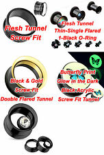 Black Titanium Anodized 316L Surgical Steel, 4 Style Ear Flesh Plug Tunnel Taper