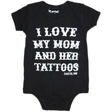 Kid's Cartel Ink I Love My Mom and Her Tattoos One Piece Black Rockabilly Ink