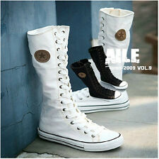 Womens/Girls sexy Sports Shoes Long boots Canvas Lace up Classic flat shoes