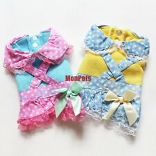 Cat Dog Dress Coat Lacy Polka Dots Skirt Bow Pet Apparel Dog Clothes Blue /Pink