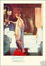 Vintage 1920s FLAPPER GIRL Beauty Bathroom BATH SINK TUB Glamour FINE ART Print