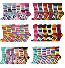 6 PRS Soft Cotton Fashion Colours Striped Socks for Men Women Girls Boys RRP £15