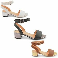 NEW LADIES MID BLOCK HEEL BUCKLE ANKLE STRAP OPEN TOE SANDALS SIZES UK 3-8