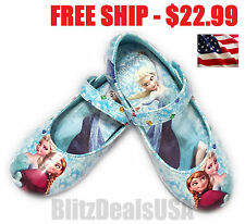 NEW Disney Frozen Elsa & Anna Blue Girls Shoes Flats Costume US Youth Size 7-12