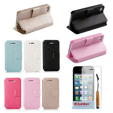 Silk Stripe Design PU Leather Wallet Flip Stand Case Cover For iPhone 4 4G 4S