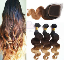 3 Tone Ombre 3Pieces &1 Lace Closure Human Hair Extensions Brazilian Body Wavy