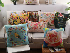 "18"" Vintage Pillow Cases Home Decor Sofa Cushion Cover Cotton Linen Insert Inner"