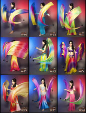 New Belly Dance Gradient Veil Poi 1 Set (2 Veils+2 Balls ) All new colors