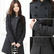 Fashion Lady Double-Breasted Windproof Jacket Winter Warm Windbreaker Coat