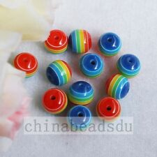 100Pcs Acrylic Resin Striped Round Ball Beads Loose Spacer Beads For Jewelry DIY