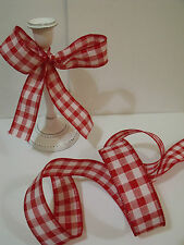 Gingham Check Retro Red & White Christmas Chic - Luxury Wire Edged Ribbon NEW