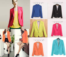 Candy Color Long Sleeve Button Slim Casual Women Blazer Suit Jacket Blazer Coat