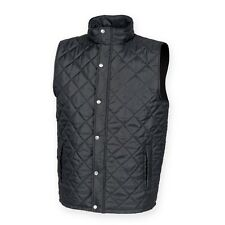 New Front Row & Co Mens Black Diamond Quilted Sleeveless Padded Gilet Size S-XXL