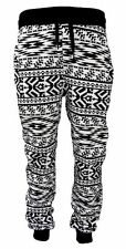 New Men's Black/White Aztec Print Poly/Cotton Joggers Tapered Leg w/ Drawstring