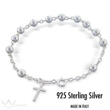 "Beautiful 925 Sterling Silver Rosary Bracelet 4mm 7"" Made in Italy"