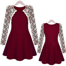 2014 New autumn winter women's lace embroidery sleeved dress Free Shipping S M L