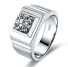 Size 9-12 Brand NEW Mens Jewelry Silver Filled Round White Sapphire Band Ring