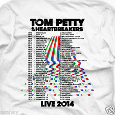 TOM PETTY The HEARTBREAKERS LIVE Tour Date 2014 White 2 Side Print T Shirt S-3XL