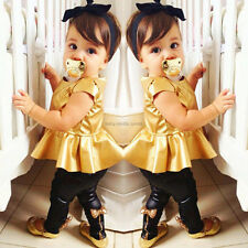 Baby Girls Childs Kids Gold Dress + Legging Pants Casual Clothes Sets Outfits