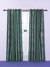 "Pair of Eyelet Curtains Teal Blue Next to Silver Taffeta/Faux Silk 54"" 72"" 90"""