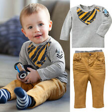 Baby Boys Childs Long Sleeve Grey Tops + Long Pants Clothes Sets Suit Outfits