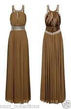 MOCHA CRYSTAL DIAMANTE KEYHOLE CUT OUT BACKLESS GRECIAN MAXI GOWN DRESS 8-18